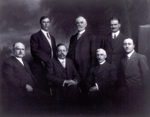 1914 Victoria Centre Council : Back row, left to right: E. H. Cotterell, C.E.; Secretary-Treasurer; A. W. McCurdy, Vice-President; Major C. B. Simonds, C.E. Front row: W. J. Sutton, M.E.; Dr. J. S. Plaskett, P.R.A.S. of C., Honorary President; T. Napier Denison, President; G.G. Aiken.
