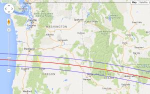 Total Solar Eclipse 2017 track across Oregon and Idaho