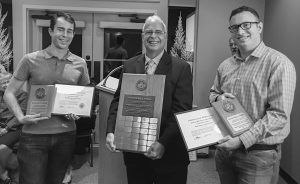 Matt Watson and Dan Posey receiving the Newton Ball Service Award from President Chris Purse