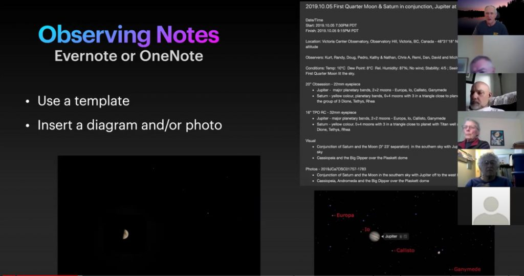 Example screens showing Joe's observations recorded in Evernote