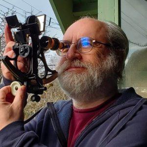Randy Enkin using his sextant